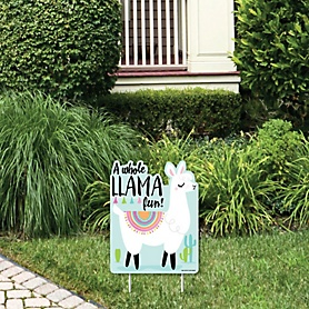 Whole Llama Fun - Outdoor Lawn Sign - Llama Fiesta Baby Shower or Birthday Party Yard Sign - 1 Piece
