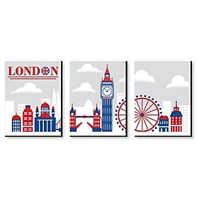 Cheerio, London - British UK Skyline Wall Art, Nursery Decor and Kids Room Decorations - 7.5 x 10 inches - Set of 3 Prints