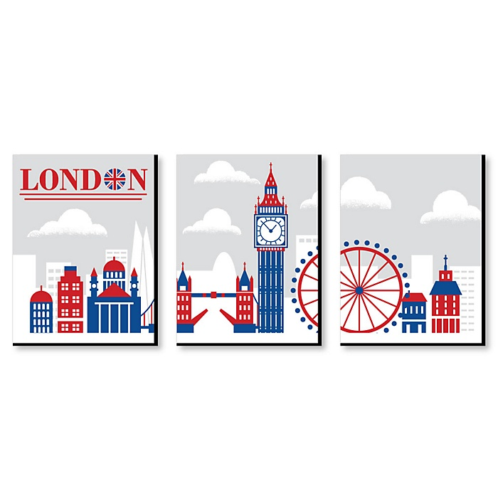 Cheerio, London - British UK Skyline Wall Art, Nursery Decor and Kids Room Decorations - 7.5 x 10 inches - Set of 3 Prints
