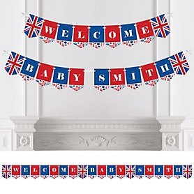 Cheerio, London - Personalized British UK Baby Shower Bunting Banner and Decorations