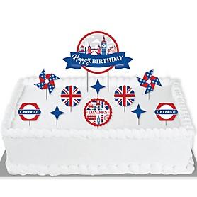 Cheerio, London - British UK Birthday Party Cake Decorating Kit - Happy Birthday Cake Topper Set - 11 Pieces