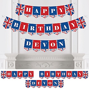 Cheerio, London - Personalized Birthday Party Bunting Banner & Decorations