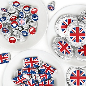 Cheerio, London - Mini Candy Bar Wrappers, Round Candy Stickers and Circle Stickers - British UK Party Candy Favor Sticker Kit - 304 Pieces