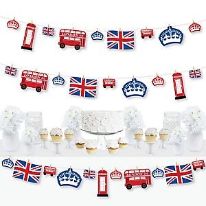 Cheerio, London - British UK Party DIY Decorations - Clothespin Garland Banner - 44 Pieces