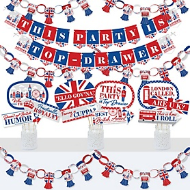 Cheerio, London - Banner and Photo Booth Decorations - British UK Party Supplies Kit - Doterrific Bundle