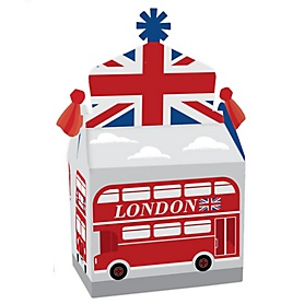 Cheerio, London - Treat Box Party Favors - British UK Party Goodie Gable Boxes - Set of 12