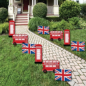 Cheerio, London - Union Jack Flag, Double-Decker Bus and Red Telephone Booth Lawn Decorations - Outdoor British UK Party Yard Decorations - 10 Piece