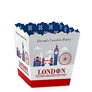 Cheerio, London - Party Mini Favor Boxes - Personalized British UK Party Treat Candy Boxes - Set of 12