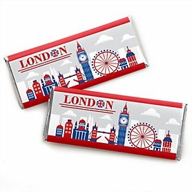 Cheerio, London -  Candy Bar Wrapper British UK Party Favors - Set of 24