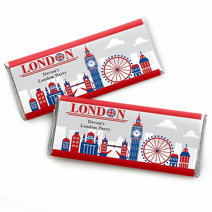 Cheerio, London - Personalized Candy Bar Wrapper British UK Party Favors - Set of 24