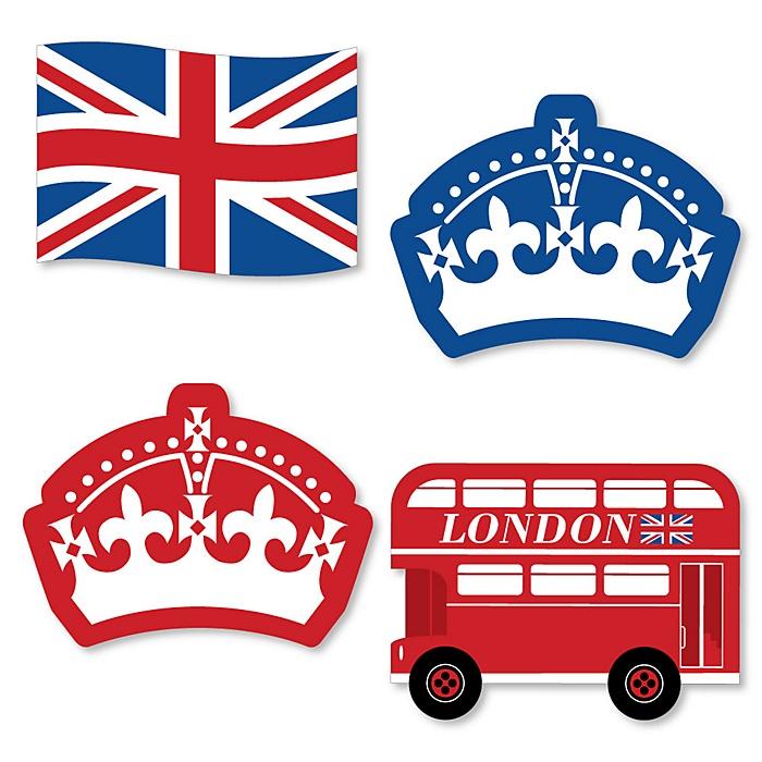 Cheerio, London - DIY Shaped British UK Party Cut-Outs - 24 ct