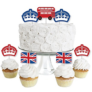 Cheerio, London - Dessert Cupcake Toppers - British UK Party Clear Treat Picks - Set of 24
