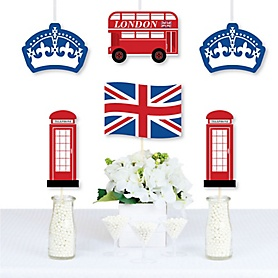 Cheerio, London - Union Jack Flag, Double-Decker Bus, Crown and Red Telephone Booth Decorations Diy British UK Party Essentials - Set of 20