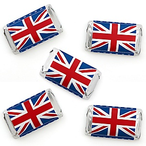 Cheerio, London - Mini Candy Bar Wrapper Stickers - British UK Party Small Favors - 40 Count
