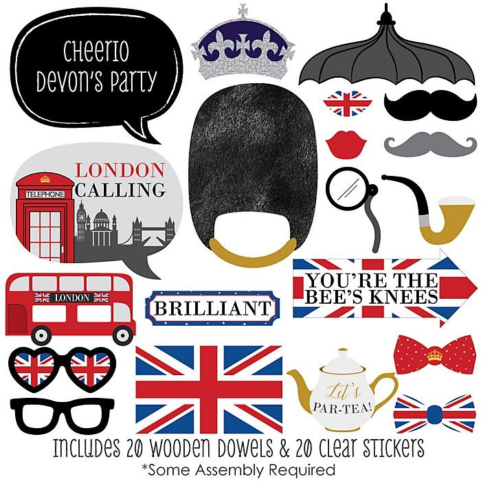 Cheerio, London - 20 Piece British UK Photo Booth Props Kit