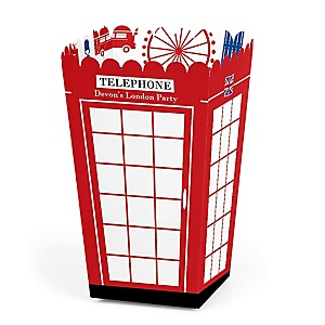 Cheerio, London - Personalized British UK Party Popcorn Favor Treat Boxes - Set of 12