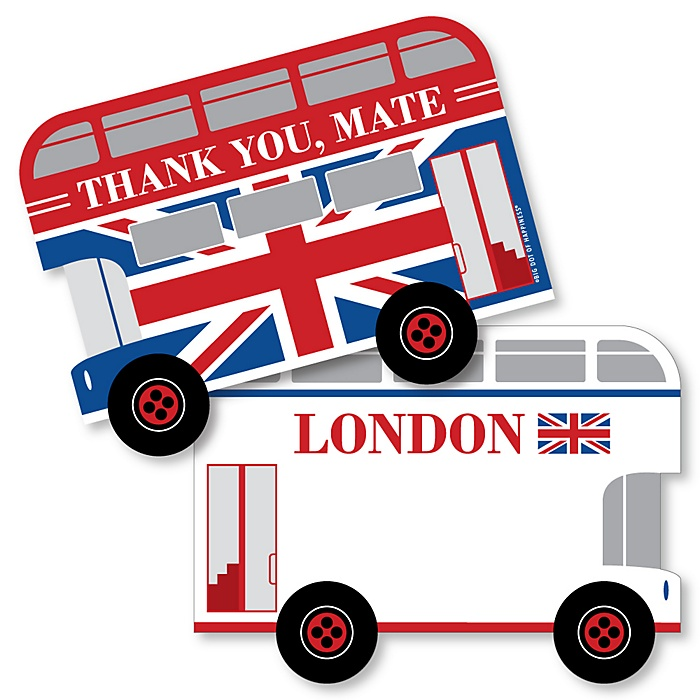 Cheerio, London - Shaped Thank You Cards - British UK Party Thank You Note Cards with Envelopes - Set of 12