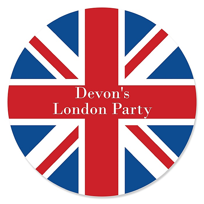 Cheerio, London - Personalized British UK Party Sticker Labels - 24 ct