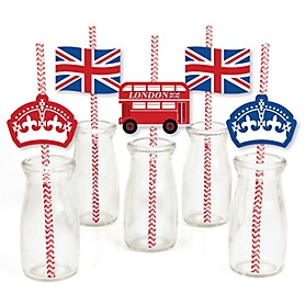 Cheerio, London - Paper Straw Decor - British UK Party Striped Decorative Straws - Set of 24