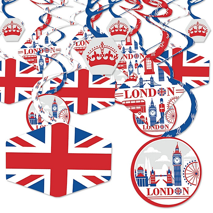 Cheerio, London - British UK Party Hanging Decor - Party Decoration Swirls - Set of 40
