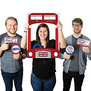 Cheerio, London - Personalized British UK Party Photo Booth Picture Frame & Props - Printed on Sturdy Material