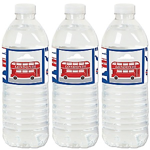 Cheerio, London - British UK Party Water Bottle Sticker Labels - Set of 20