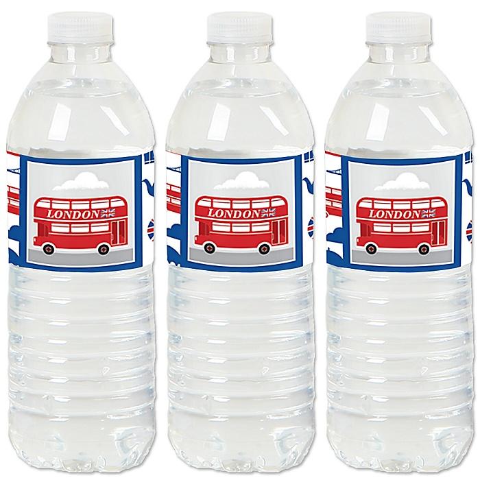 Cheerio, London - British UK Party Water Bottle Sticker Labels - Set of 20