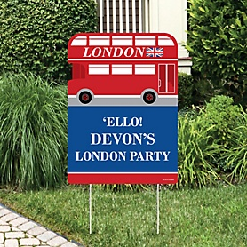 Cheerio, London - Party Decorations - British UK Party Personalized Welcome Yard Sign