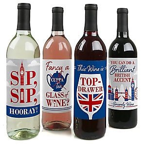 Cheerio, London - British UK Party Decorations for Women and Men - Wine Bottle Label Stickers - Set of 4