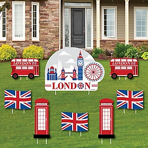 Cheerio, London - Yard Sign & Outdoor Lawn Decorations - British UK Party Yard Signs - Set of 8