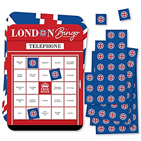 Cheerio, London - Bingo Cards and Markers - British UK Party Shaped Bingo Game - Set of 18