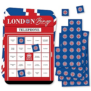 Cheerio, London - Bingo Cards and Markers - British UK Party Shaped Bingo Game - Set of 18