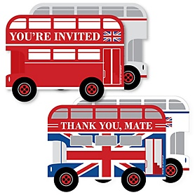 Cheerio, London - 20 Shaped Fill-In Invitations and 20 Shaped Thank You Cards Kit - British UK Party Stationery Kit - 40 Pack