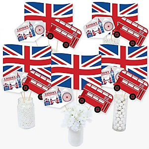 Cheerio, London - British UK Party Centerpiece Sticks - Table Toppers - Set of 15