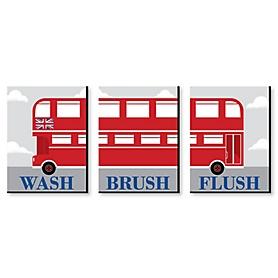 Cheerio, London - Kids Bathroom Rules Wall Art - 7.5 x 10 inches - Set of 3 Signs - Wash, Brush, Flush