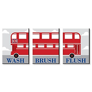 Cheerio, London - Kids Bathroom Rules Wall Art - 7.5 x 10 inches - Set of 3 Signs - Wash, Brush, Flush