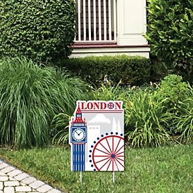 Cheerio, London - Outdoor Lawn Sign - British UK Party Yard Sign - 1 Piece
