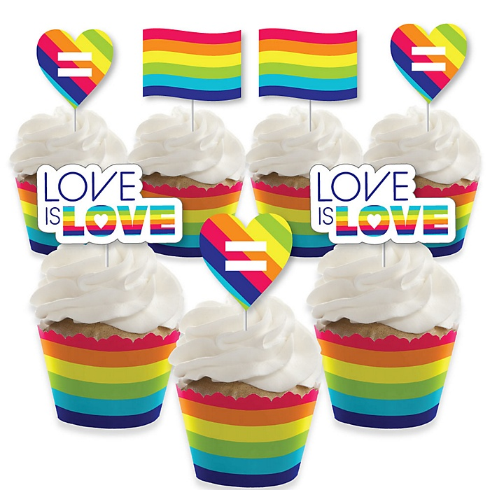 Love is Love - Gay Pride - Cupcake Decoration - LGBTQ Rainbow Party Cupcake Wrappers and Treat Picks Kit - Set of 24