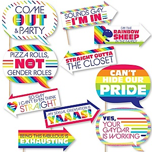 Funny Love is Love - Gay Pride - 10 Piece LGBTQ Rainbow Party Photo Booth Props Kit