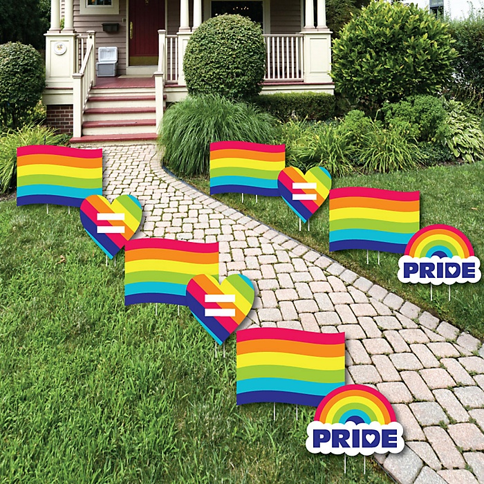 Love is Love - Gay Pride - Flag and Heart Lawn Decorations - Outdoor LGBTQ Rainbow Party Yard Decorations - 10 Piece