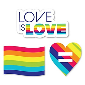 Love is Love - Gay Pride - DIY Shaped LGBTQ Rainbow Party Cut-Outs - 24 ct