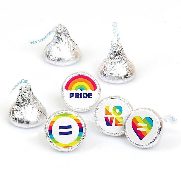 Love is Love - Gay Pride - Round Candy Labels LGBTQ Rainbow Party Favors - Fits Hershey's Kisses - 108 ct