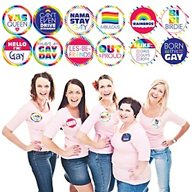 Love is Love - Gay Pride - LGBTQ Rainbow Party Funny Name Tags - Party Badges Sticker Set of 12