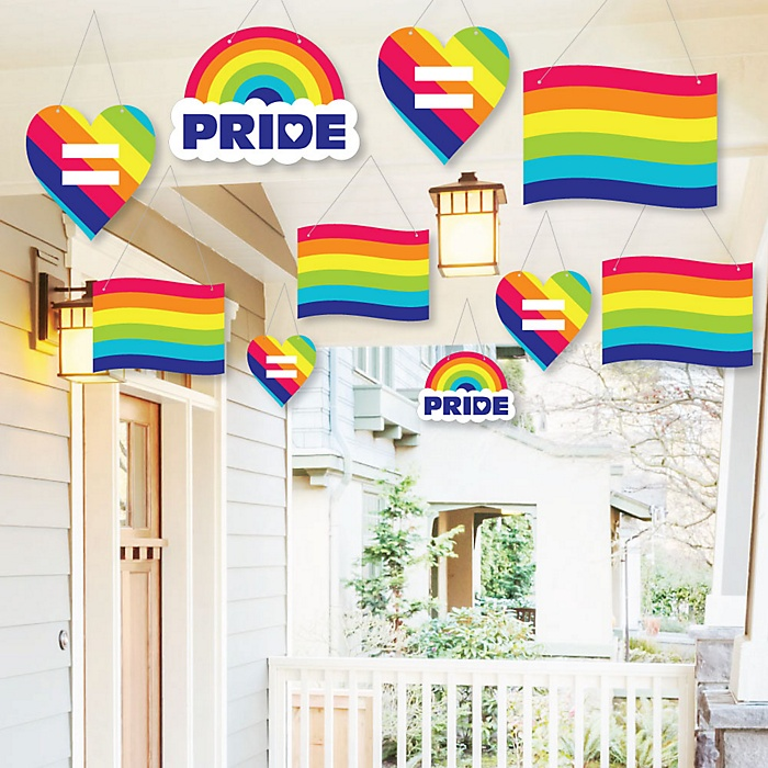 Hanging Love is Love - Gay Pride - Outdoor LGBTQ Rainbow Party Hanging Porch and Tree Yard Decorations - 10 Pieces