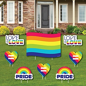 Love is Love - Gay Pride - Yard Sign & Outdoor Lawn Decorations - LGBTQ Rainbow Party Yard Signs - Set of 8