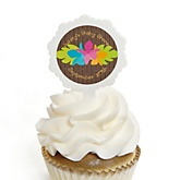 Luau - 12 Cupcake Picks & 24 Personalized Stickers - Baby Shower Cupcake Toppers