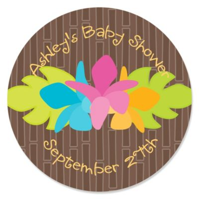 Luau   Personalized Baby Shower Sticker Labels   24 Ct