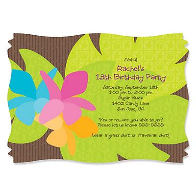 Luau Personalized Birthday Party Invitations – Hawaiian Birthday Party Invitations