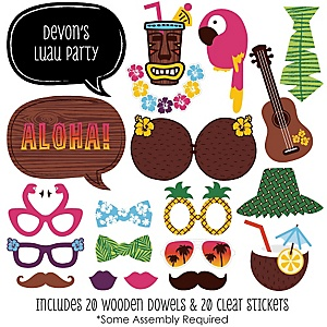 Luau - 20 Piece Photo Booth Props Kit