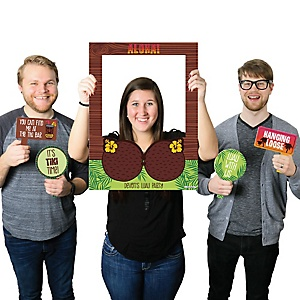 Tiki Luau - Personalized Topical Hawaiian Summer Party Selfie Photo Booth Picture Frame & Props - Printed on Sturdy Material